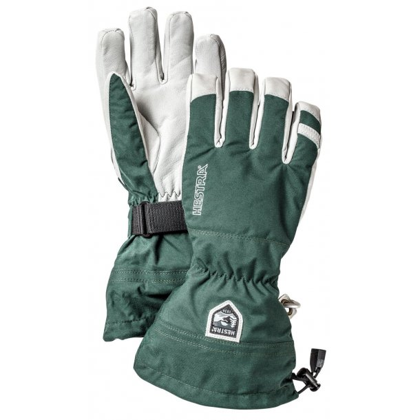 Hestra Army Leather Heli Ski 5-finger Grøn str. 10